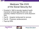 medicare title xviii of the social security act
