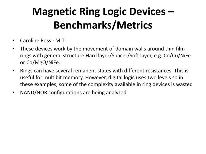 Magnetic Ring Logic Devices – Benchmarks/Metrics