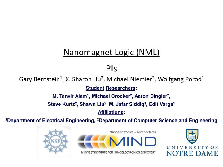 Nanomagnet Logic (NML)