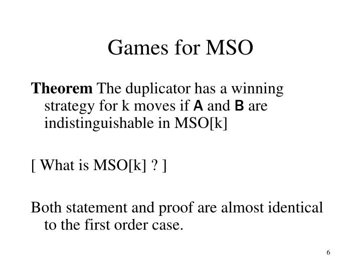 Games for MSO