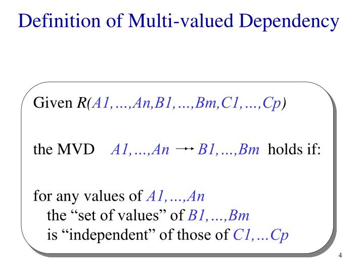 Definition of Multi-valued Dependency