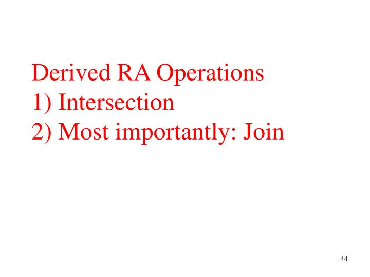 Derived RA Operations