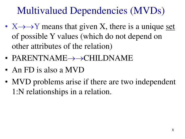 Multivalued Dependencies (MVDs)