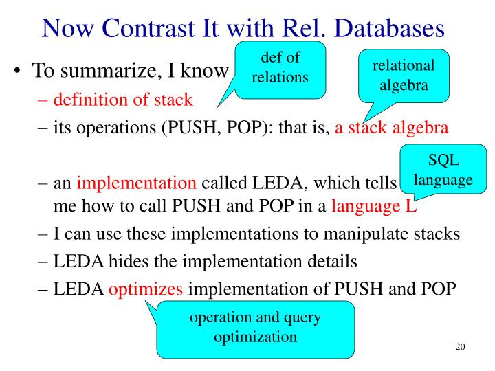 Now Contrast It with Rel. Databases