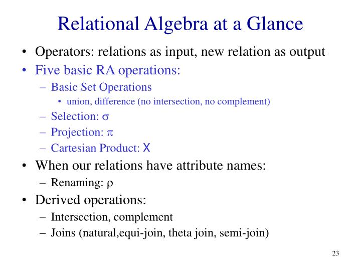 Relational Algebra at a Glance