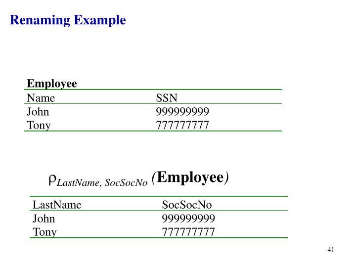 Renaming Example