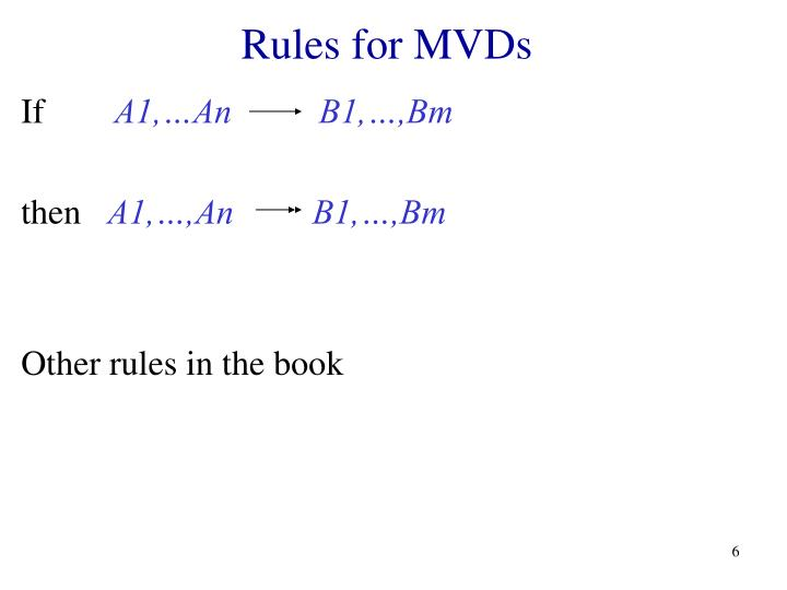 Rules for MVDs
