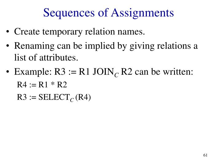 Sequences of Assignments