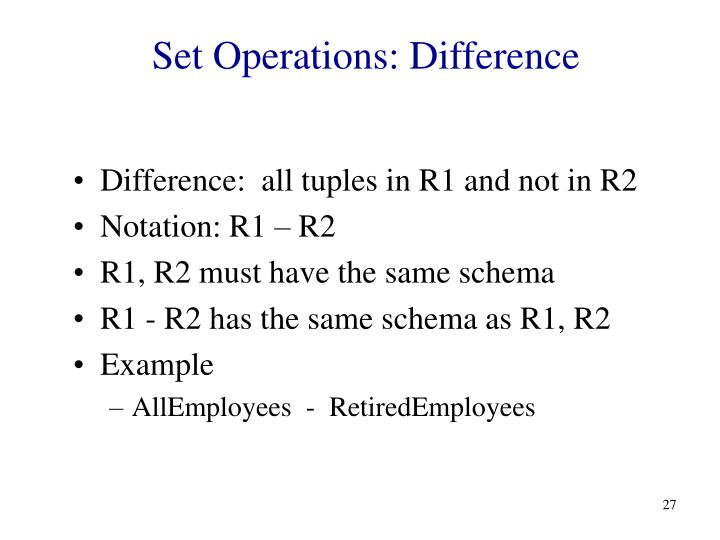 Set Operations: Difference