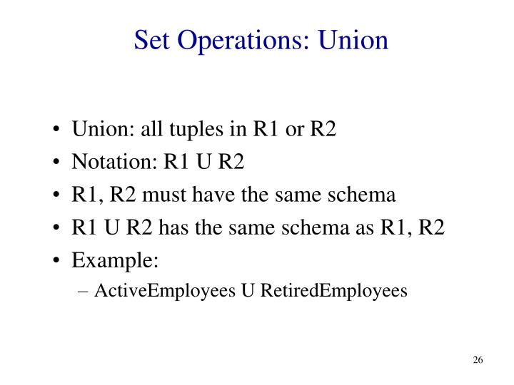 Set Operations: Union