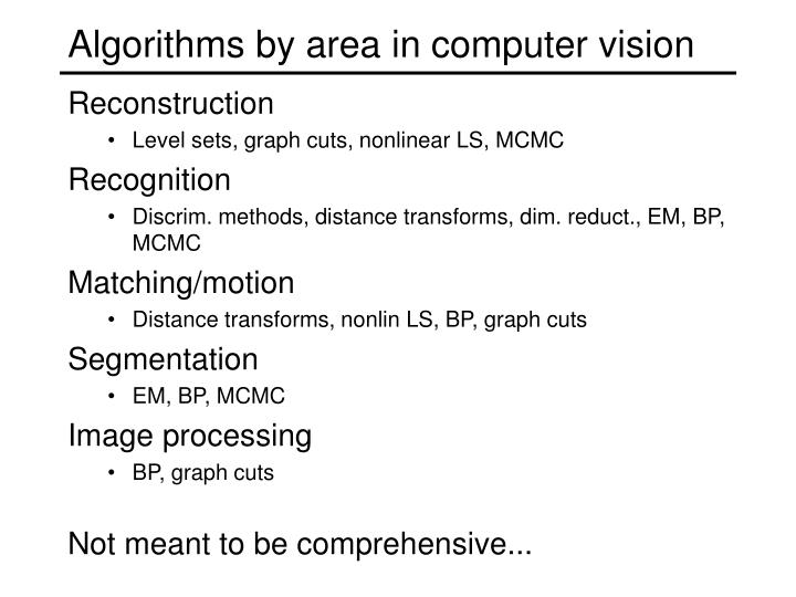 Algorithms by area in computer vision