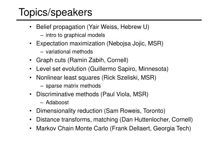 Topics/speakers