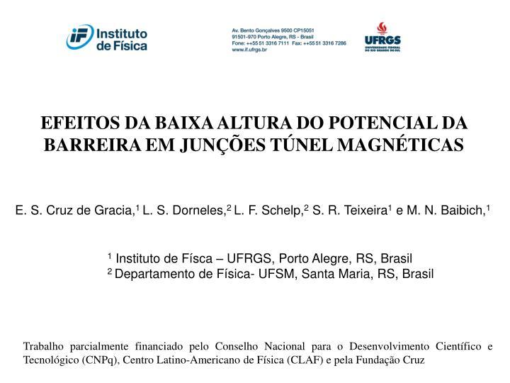 EFEITOS DA BAIXA ALTURA DO POTENCIAL DA BARREIRA EM JUNÇÕES TÚNEL MAGNÉTICAS