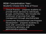 msw concentration year students choose one area of focus
