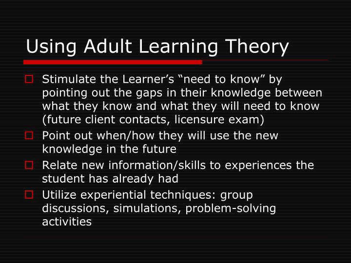 Using Adult Learning Theory