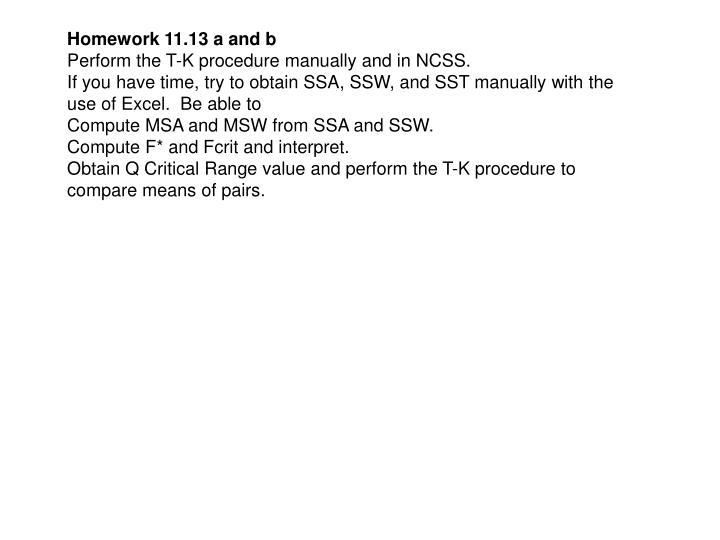 Homework 11.13 a and b