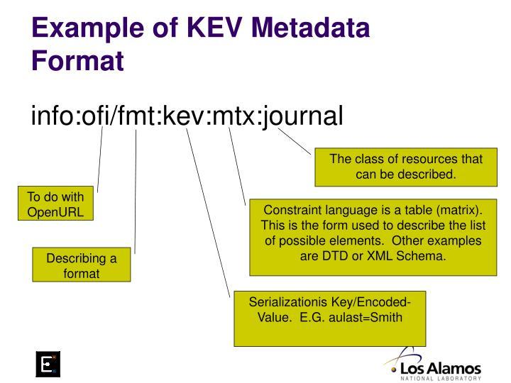 Example of KEV Metadata Format