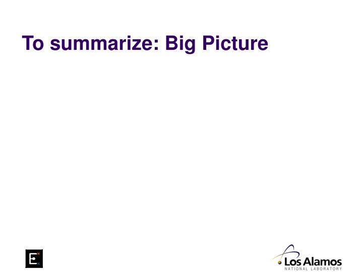 To summarize: Big Picture