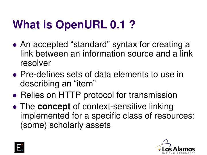 What is OpenURL 0.1 ?
