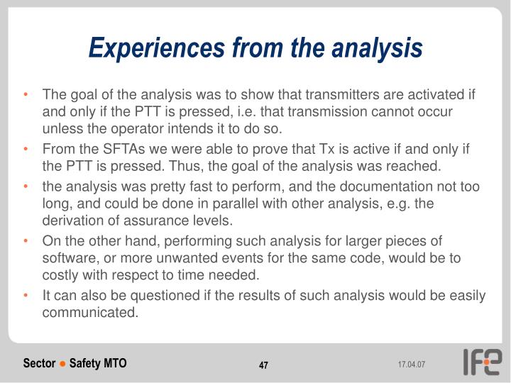 Experiences from the analysis