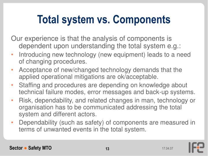 Total system vs. Components