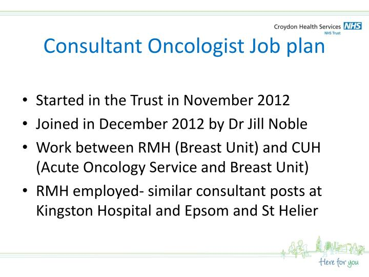 Consultant Oncologist Job plan