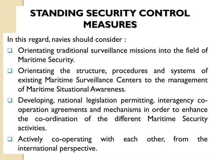 STANDING SECURITY CONTROL MEASURES