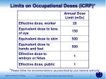 limits on occupational doses icrp