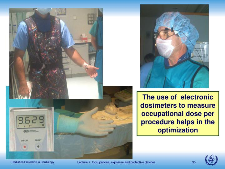The use of  electronic dosimeters to measure occupational dose per procedure helps in the optimization
