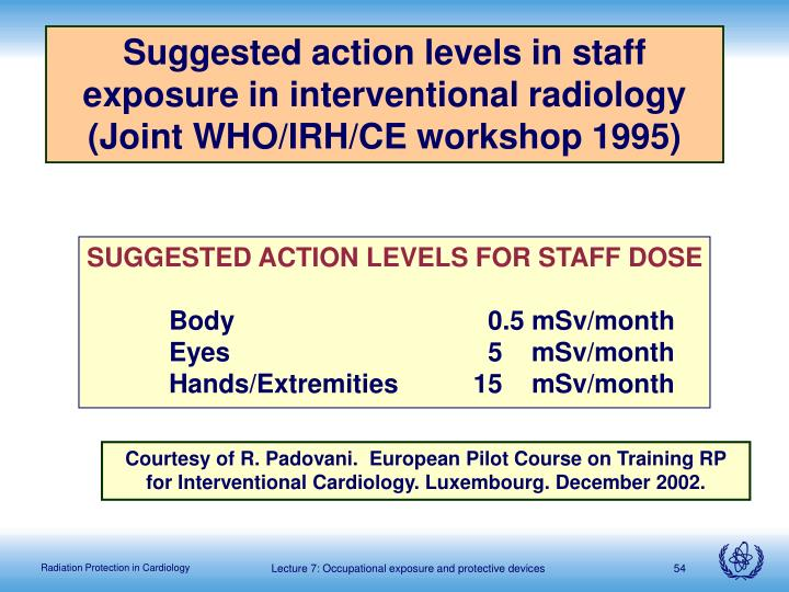 Suggested action levels in staff exposure in interventional radiology