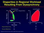 disparities in regional workload resulting from dyssynchrony
