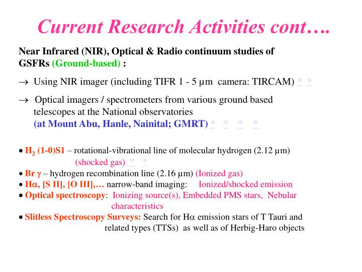 Current Research Activities cont….
