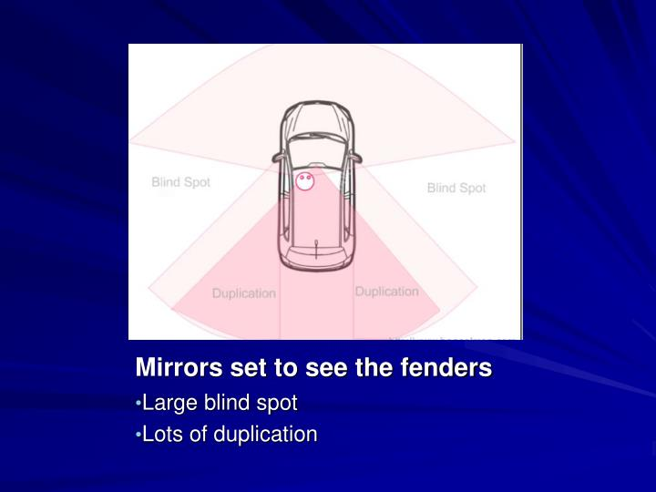 Mirrors set to see the fenders