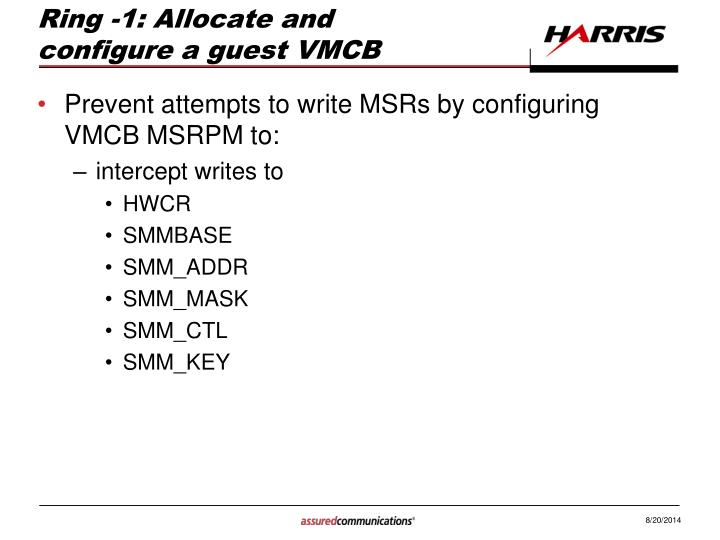 Ring -1: Allocate and configure a guest VMCB