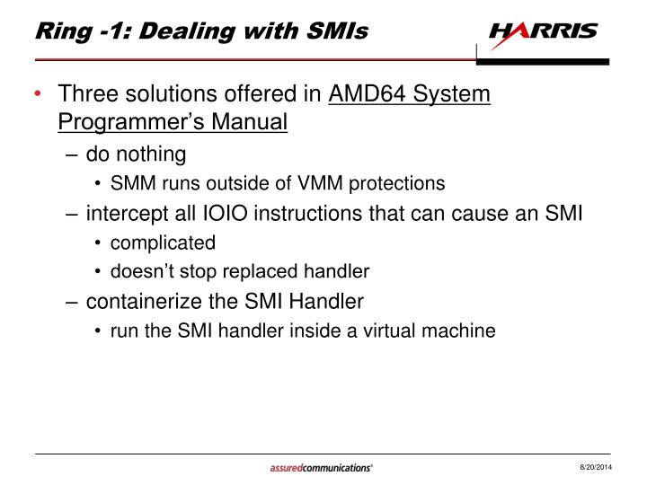 Ring -1: Dealing with SMIs