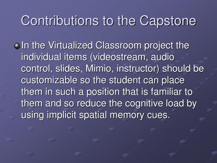 Contributions to the Capstone