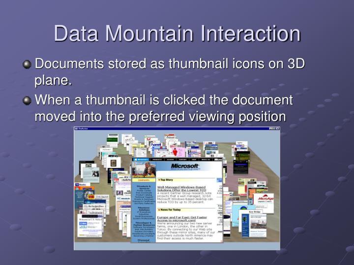 Data Mountain Interaction