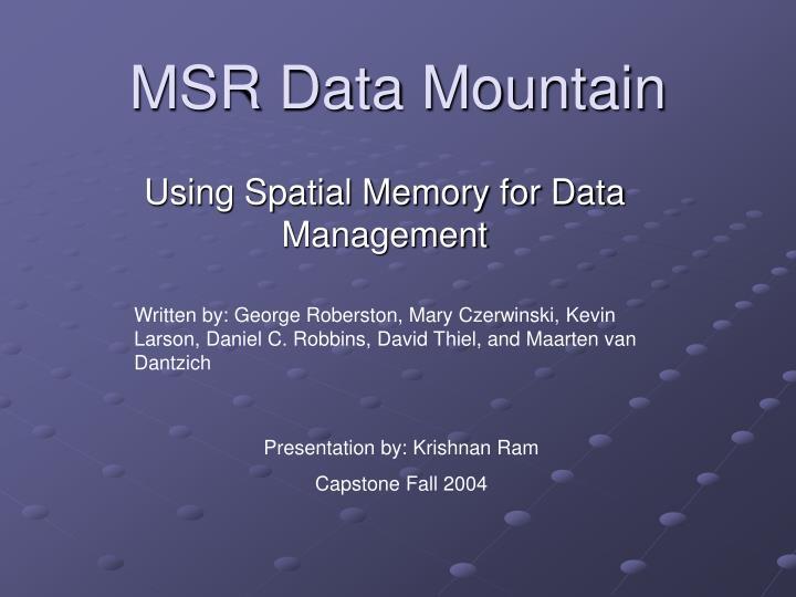 MSR Data Mountain