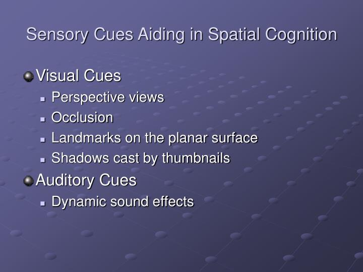 Sensory Cues Aiding in Spatial Cognition