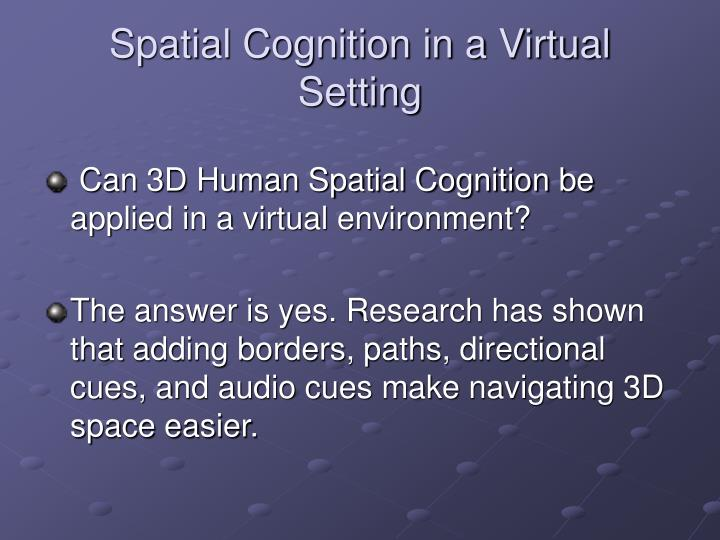 Spatial Cognition in a Virtual Setting