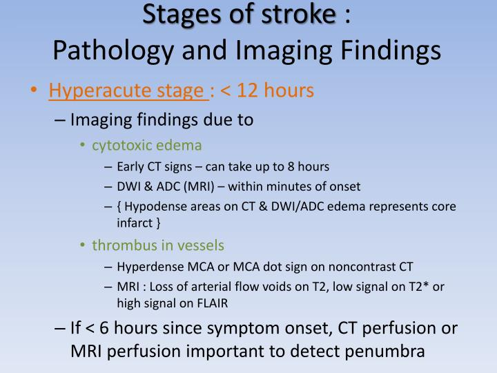 Stages of stroke