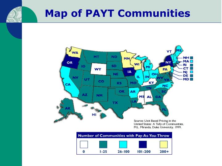 Map of PAYT Communities