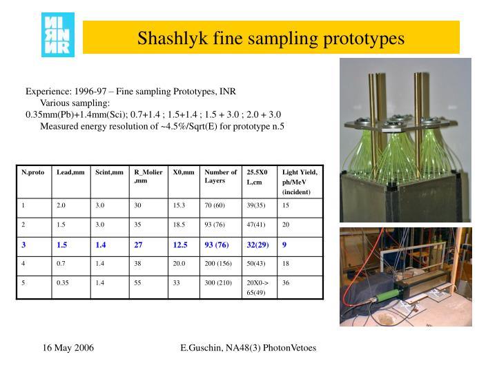Shashlyk fine sampling prototypes