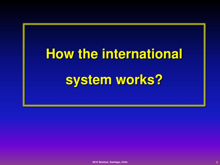 How the international  system works?