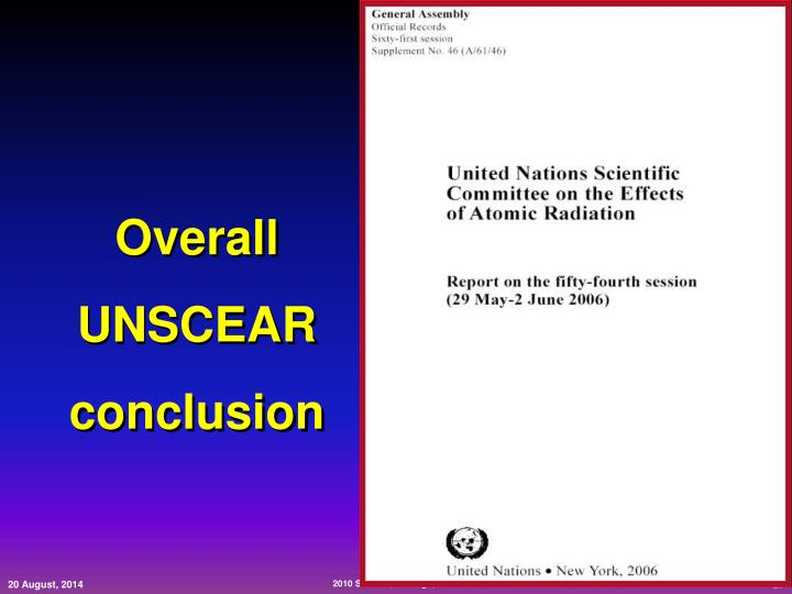 Overall UNSCEAR conclusion