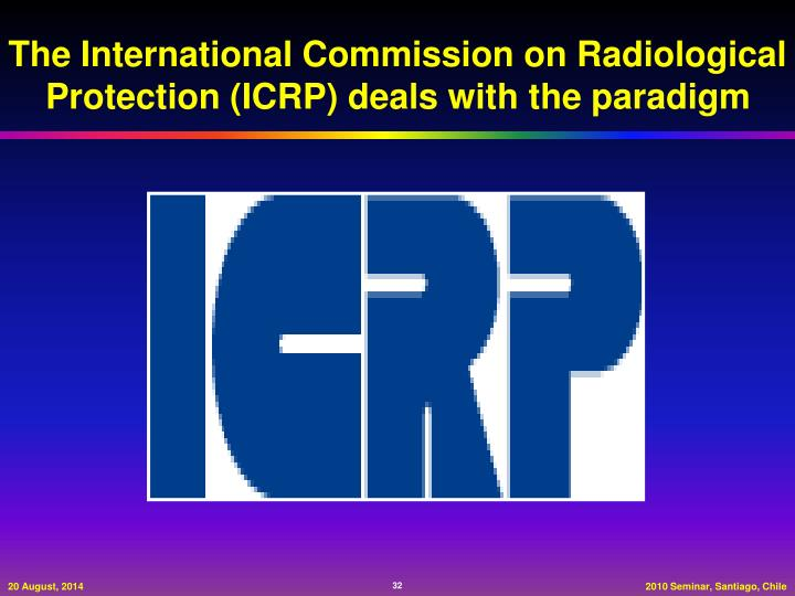 The International Commission on Radiological Protection (ICRP) deals with the paradigm