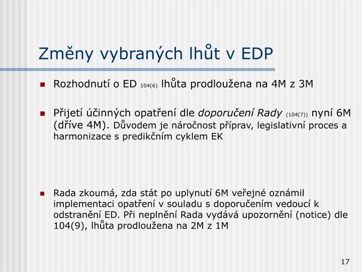 Změny vybraných lhůt v EDP