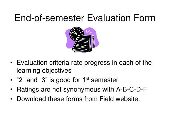 End-of-semester Evaluation Form