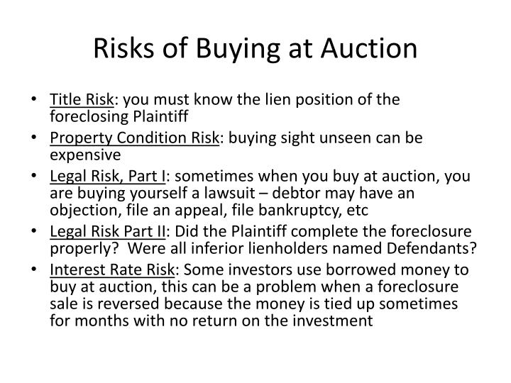 Risks of Buying at Auction