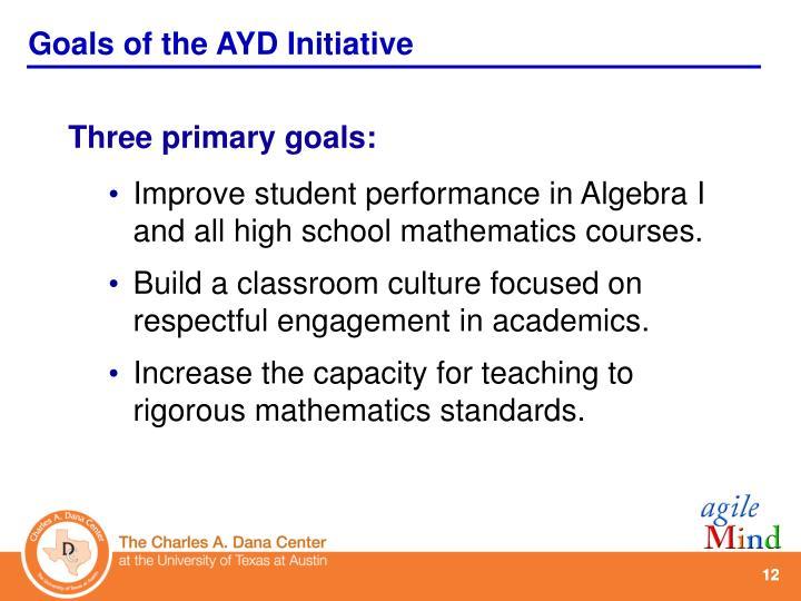 Goals of the AYD Initiative